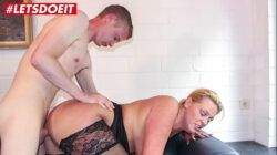 LETSDOEIT – German Cougar Abuses a Young Big Cock