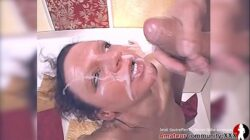 Hot chick gets fingered and fucked hard on the couch