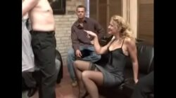 Classy German milf controls 4 men and let them fuck her