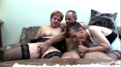 Two German Grandmams at Real FFM Threesome Porn Casting Sex