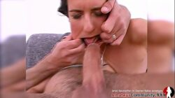 After anal sex, Patcy catches a big cum load of cum in her mouth before getting drenched in piss!